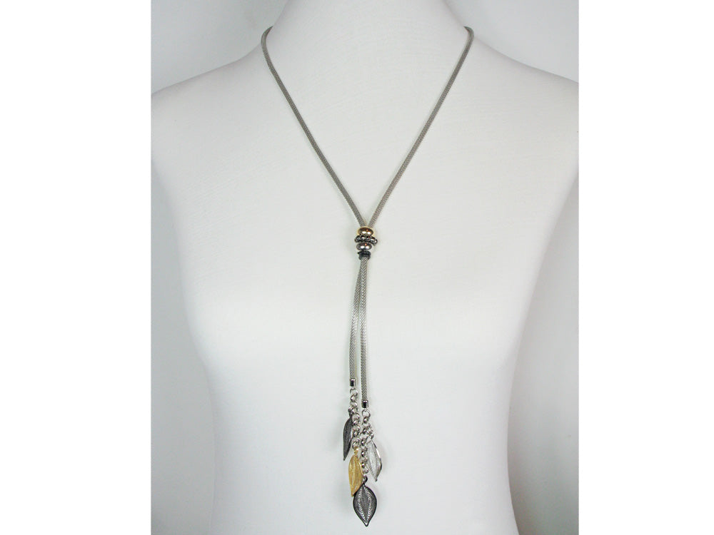 Mesh Bolo Necklace with Filagree Leaf Drops | Erica Zap Designs