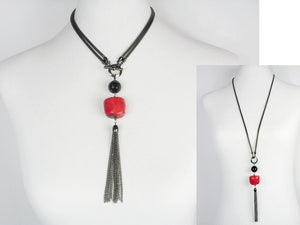 2-Way Mesh & Stone Tassel Drop Necklace | Erica Zap Designs