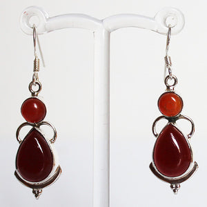 100% 925 Solid Sterling Silver Semi-Precious Red Onyx Natural Stone Earrings - Cherish Me Jewellery - Melbourne Australia