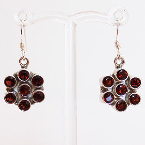 100% 925 Solid Sterling Silver Semi-Precious Red Garnet Natural Stone Earrings - Cherish Me Jewellery - Melbourne Australia