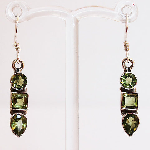 100% 925 Solid Sterling Silver Semi-Precious Green Peridot Natural Stone Earrings - Cherish Me Jewellery - Melbourne Australia