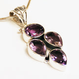 100% 925 Solid Sterling Silver Semi-Precious Purple Amethyst Natural Stone Pendant