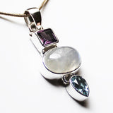 100% 925 Solid Sterling Silver Semi-Precious Moonstone, Purple Amethyst & Blue Topaz Natural Stone Pendant - Cherish Me Jewellery - Melbourne Australia
