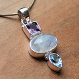 100% 925 Solid Sterling Silver Semi-Precious Rainbow Moonstone, Purple Amethyst & Blue Topaz Natural Stone Pendant - Cherish Me Jewellery - Melbourne Australia