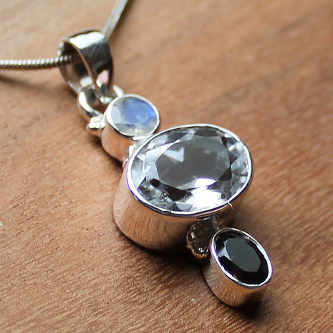 100% 925 Solid Sterling Silver Semi-Precious Clear Quartz, Moonstone & Smokey Quartz Natural Stone Pendant - Cherish Me Jewellery - Melbourne Australia