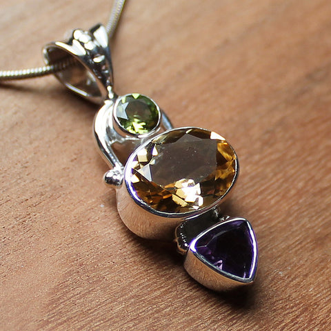100% 925 Solid Sterling Silver Semi-Precious Yellow Citrine, Green Peridot & Purple Amethyst Natural Stone Pendant - Cherish Me Jewellery - Melbourne Australia