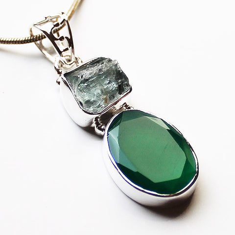 100% 925 Solid Sterling Silver Semi-Precious Green Onyx & Rough Green Amethyst Natural Stone Pendant - Cherish Me Jewellery - Melbourne Australia