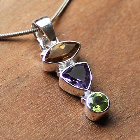 100% 925 Solid Sterling Silver Semi-Precious Yellow Citrine,  Purple Amethyst & Green Peridot &Natural Stone Pendant - Cherish Me Jewellery - Melbourne Australia