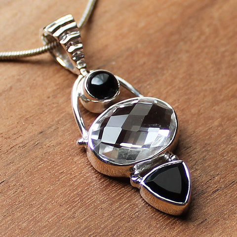 100% 925 Solid Sterling Silver Semi-Precious Clear Quartz & Black Onyx Natural Stone Pendant - Cherish Me Jewellery - Melbourne Australia