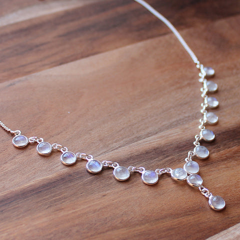 100% 925 Solid Sterling Silver Semi-Precious Moonstone Natural Stone Necklace - Cherish Me Jewellery - Melbourne Australia