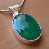 100% 925 Solid Sterling Silver Semi-Precious Green Faceted Onyx Natural Stone Pendant - Cherish Me Jewellery - Melbourne Australia