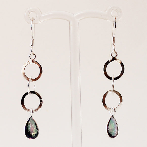 100% 925 Solid Sterling Silver Semi-Precious Mystic Topaz Natural Stone Earrings - Cherish Me Jewellery - Melbourne Australia