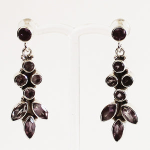 100% 925 Solid Sterling Silver Semi-Precious Purple Amethyst Multi-Stone Drop Earrings - Cherish Me Jewellery - Melbourne Australia