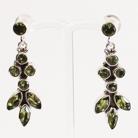 100% 925 Solid Sterling Silver Green Peridot Semi-Precious Multi-Stone Drop Earrings - Cherish Me Jewellery - Melbourne Australia