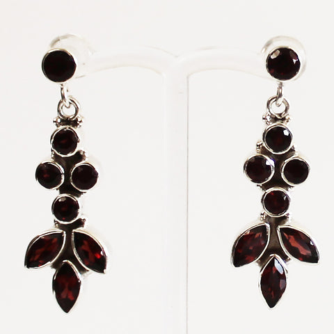 100% 925 Solid Sterling Silver Red Garnet Semi-Precious Multi-Stone Drop Earrings - Cherish Me Jewellery - Melbourne Australia