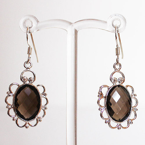 100% 925 Solid Sterling Silver Semi-Precious Black Smokey Quartz Natural Stone Earrings - Cherish Me Jewellery - Melbourne Australia