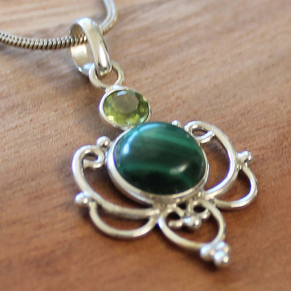 100% 925 Solid Sterling Silver Semi-Precious Green Malachite and Peridot Natural Stone Pendant - Cherish Me Jewellery - Melbourne Australia