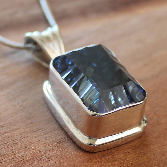 100% 925 Solid Sterling Silver Semi-Precious Blue Mystic Topaz Rectangle Natural Stone Pendant - Cherish Me Jewellery - Melbourne Australia
