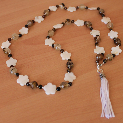 Unique 100cm BOHO White Shell and Brown Tourmaline Silver Long Necklace with Silk Tassel - Cherish Me Jewellery - Melbourne Australia