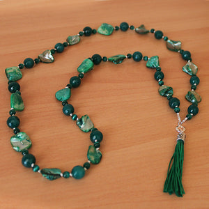 Unique 100cm BOHO Green Shell and Agate Silver Long Necklace with Green Silk Tassel - Cherish Me Jewellery - Melbourne Australia