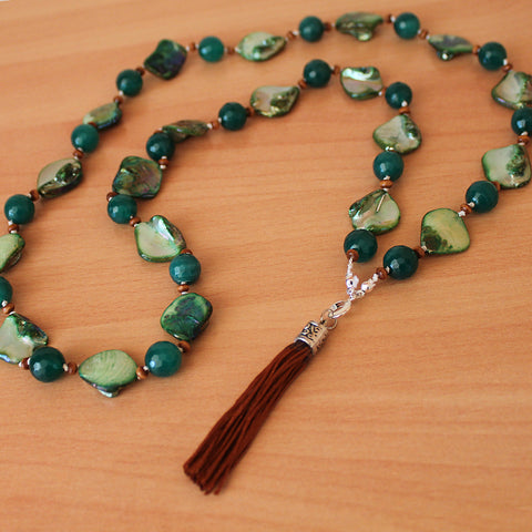 Unique 100cm BOHO Green Shell and Agate Silver Long Necklace with Brown Silk Tassel - Cherish Me Jewellery - Melbourne Australia