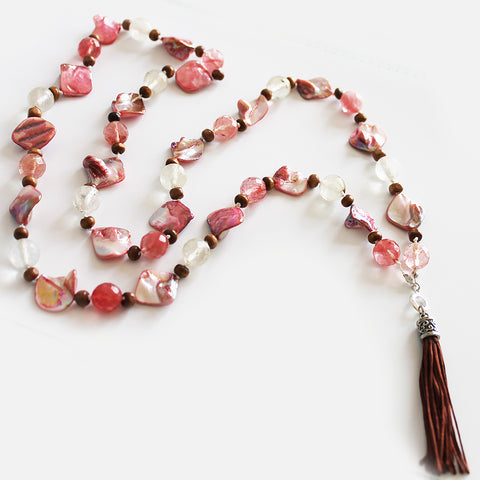 Unique 100cm BOHO Pink Shell and Tourmaline Silver Long Necklace with Brown Silk Tassel