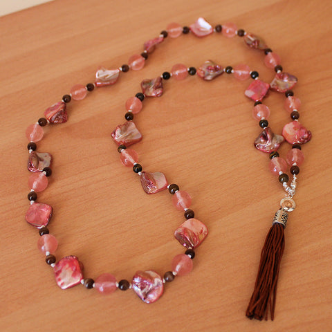 Unique 100cm BOHO Pink Shell and Tourmaline Silver Long Necklace with Brown Silk Tassel - Cherish Me Jewellery - Melbourne Australia