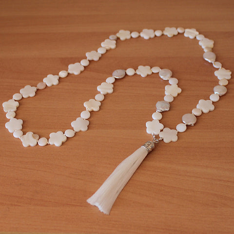 Unique 100cm BOHO White Shell Silver Long Necklace with White Silk Tassel - Cherish Me Jewellery - Melbourne Australia