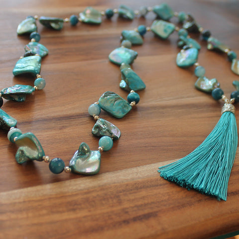 Unique 100cm BOHO Blue Shell and Agate Silver Long Necklace with Blue Silk Tassel - Cherish Me Jewellery - Melbourne Australia