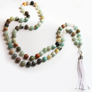 Unique 95cm BOHO Blue Amazonite Stone Silver Long Necklace with White Silk Tassel - Cherish Me Jewellery - Melbourne Australia