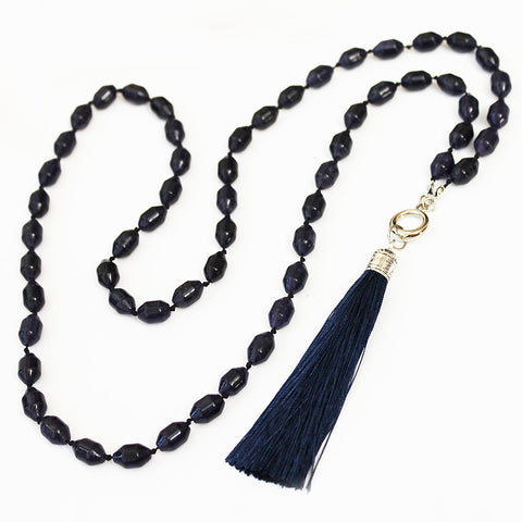 Unique 80cm BOHO Blue Agate Stone and Silver Long Necklace with Blue Silk Tassel - Cherish Me Jewellery - Melbourne Australia