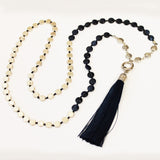 Unique 80cm BOHO Blue Shell and Silver Long Necklace with Blue Silk Tassel