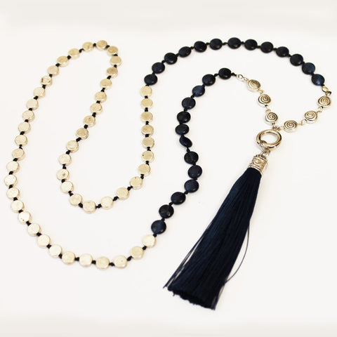 Unique 80cm BOHO Blue Shell and Silver Long Necklace with Blue Silk Tassel - Cherish Me Jewellery - Melbourne Australia