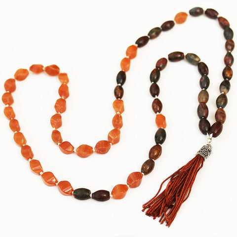 Unique 80cm BOHO Brown Jasper Stone Silver Long Necklace with Brown Silk Tassel