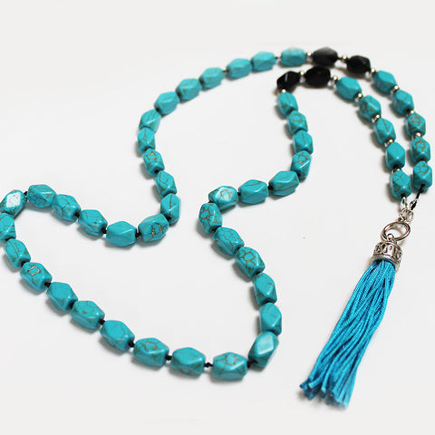 Unique 95cm BOHO Blue Turquoise Stone and Silver Long Necklace with Blue Silk Tassel - Cherish Me Jewellery - Melbourne Australia