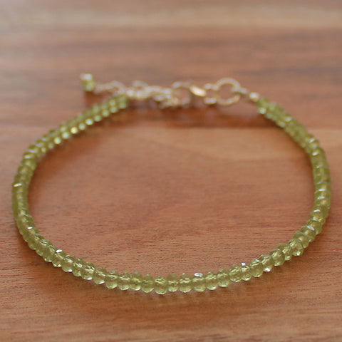100% 925 Solid Sterling Silver Delicate Green Peridot Natural Stone Bracelet