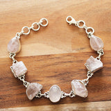 100% 925 Solid Sterling Silver Rough and Cab Rose Quartz Semi Precious Natural Stone Bracelet - Cherish Me Jewellery - Melbourne Australia