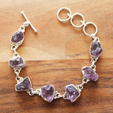 100% 925 Solid Sterling Silver Rough Cut Purple Amethyst Semi Precious Natural Stone Bracelet - Cherish Me Jewellery - Melbourne Australia