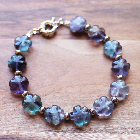 Multi-Stone Natural Purple & Green Fluorite Semi Precious Flower Shaped Stone Bracelet