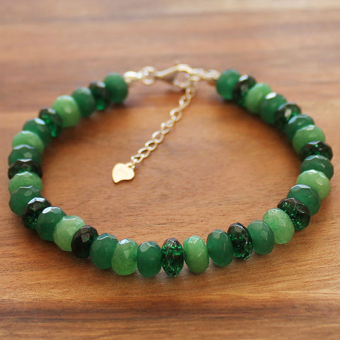 100% 925 Solid Sterling Silver Green Faceted Agate & Quartz Abacus Rondelle Natural Stone Bracelet - Cherish Me Jewellery - Melbourne Australia