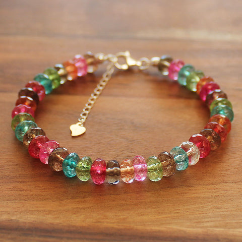 100% 925 Solid Sterling Silver Faceted Rainbow Quartz Abacus Rondelle Natural Stone Bracelet - Cherish Me Jewellery - Melbourne Australia