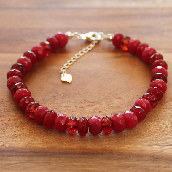 100% 925 Solid Sterling Silver Red Faceted Agate & Quartz Abacus Rondelle Natural Stone Bracelet - Cherish Me Jewellery - Melbourne Australia