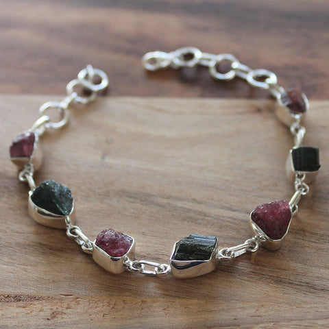 925 Solid Sterling Silver Rough Cut Semi Precious Red and Green Tourmaline Stone Bracelet - Cherish Me Jewellery - Melbourne Australia