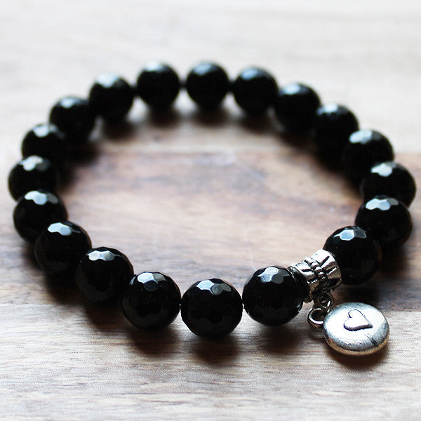 Semi Precious Silver Charm & Faceted Black Agate Natural Stone Bracelet with choice of 4 charms - Cherish Me Jewellery - Melbourne Australia