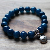20cm Silver Charm & Faceted Dark Blue Agate Natural Semi Precious Stone Bracelet with choice of 4 charms - Cherish Me Jewellery - Melbourne Australia