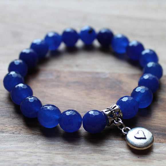Semi Precious Silver Charm & Faceted Blue Agate Natural Stone Bracelet with choice of 4 charms - Cherish Me Jewellery - Melbourne Australia