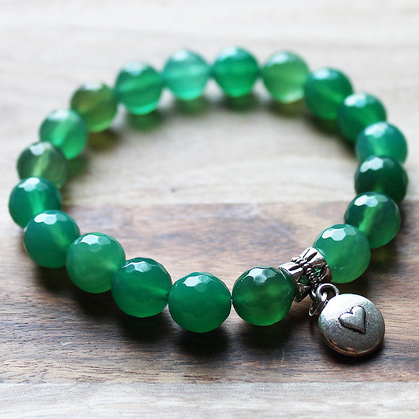 20cm Silver Charm & Faceted Green Agate Natural Semi Precious Stone Bracelet with choice of 4 charms - Cherish Me Jewellery - Melbourne Australia