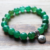 Semi Precious Silver Charm & Faceted Green Agate Natural Stone Bracelet with choice of 4 charms - Cherish Me Jewellery - Melbourne Australia