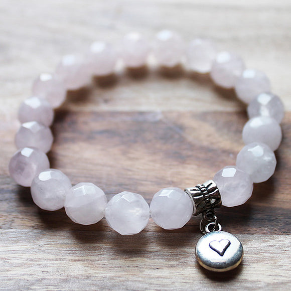Semi Precious Silver Charm & Faceted Pink Rose Quartz Natural Stone Bracelet with choice of 4 charms - Cherish Me Jewellery - Melbourne Australia