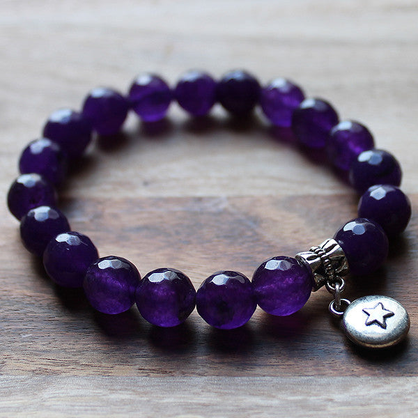 Semi Precious Silver Charm & Faceted Purple Agate Stone Bracelet with choice of 4 charms - Cherish Me Jewellery - Melbourne Australia